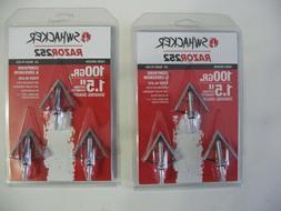 Swhacker 100 grain 4 bladed broadheads, model 252, 2 packs,