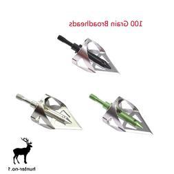 100 Grain Broadheads for Archery Crossbow Arrow 360 Cut Poin
