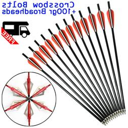 12-18inch Fiberglass Crossbow Bolts Flat Nock Arrow +100grai