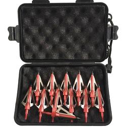 12 Pcs Hunting Broadheads 100 Grain 3 Fixed Blade Arrow Head
