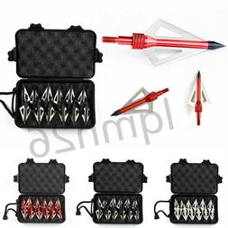 12Pcs 100Grain Hunting Broadheads 3 Blades Arrow Head+Broadh