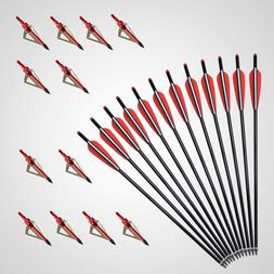 "12pcs 20"" 22"" Carbon Crossbow Bolts With Field Point/Moon No"
