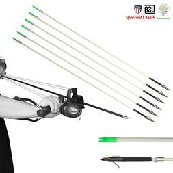 "12PCS 31.5"" Hunting Fishing Arrows Archery Bow Fishing Broad"