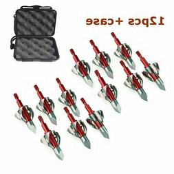 12Pcs Red Broadheads 100Gr Outdoor Hunting Arrow Tips Arr