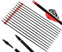 "12PK 30"" Archery Carbon Arrows Hunting Practice 100 Grains B"