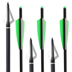 "12x20"" CROSSBOW CARBON Field Tip Bolts Fletched 4'' Vane Bow"