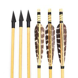 Huntingdoor Archery Wooden Arrows Turkey Feathers Fletchings