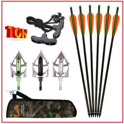 16/18/20/22 inch Carbon Crossbow Bolts+100gr Broadheads+Rope