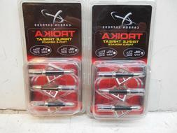 2 packs of Carbon Express Troika triple threat broadheads 10