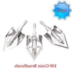 3 Pack Archery Broadheads 100 Grain Bowhunting Arrow Head fo