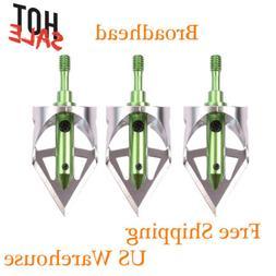 3Pack 3 Fixed Blade Archery Broadheads 100 Grain Arrow Head