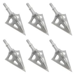 6-Pack 100 Grain Archery Fixed 3-blade Broadhead One-piece S