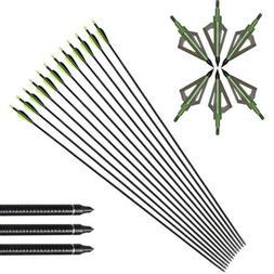 6Pcs 32'' Archery Fiberglass Arrows & Hunting 100G Broadhead