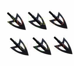6pcs Metal Sharp Broadheads 2 Fixed Blade 100 Grain Hunting