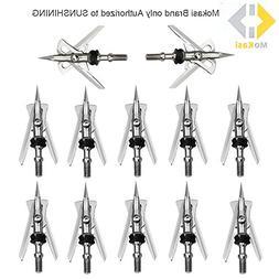 """MoKasi 12pcs Archery Broadheads 2 Blade 100 Grain 2+"""" Cut"""