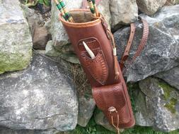 BROAD-HEAD KNIFE LEATHER BACK QUIVER / ARCHERY 3 POINT HARNE