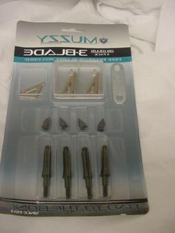 MUZZY BROADHEADS  3-BLADE 100 GRAIN   PACK   225-4   1 3/16'