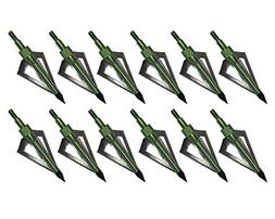 Huntingdoor 12PK Black 3 Blades Archery Broadheads 100 Grain