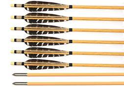 Albertu 12Pcs Pure Handmade Hunting/Targeting Wood Arrows wi