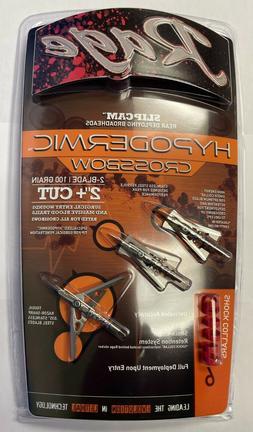 "Rage Hypodermic Crossbow Titanium Broadhead 100 Grain 2"" Cut"