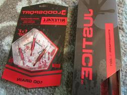 Bloodsport Justice 350 Arrows...2 6pks + Broadheads