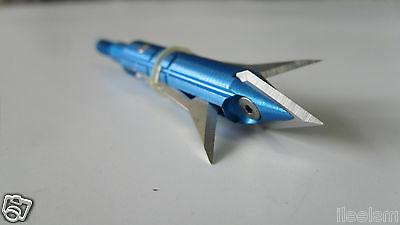 "12pcs Blue Archery Broadheads 2.3"" Crossbow Arrowheads 100 Grain"