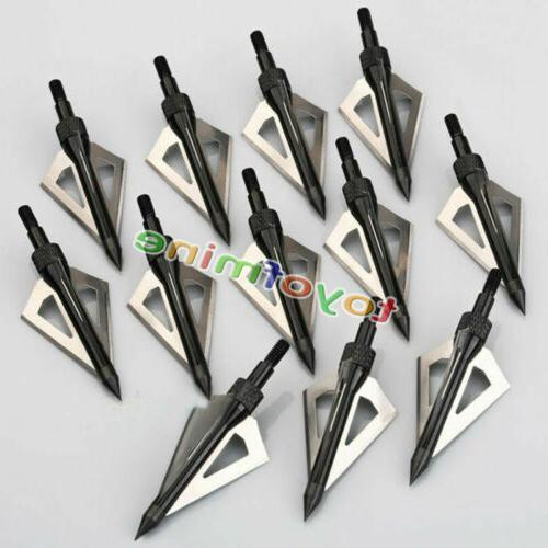 12pcs hunting broadheads 100 grain 3 blade