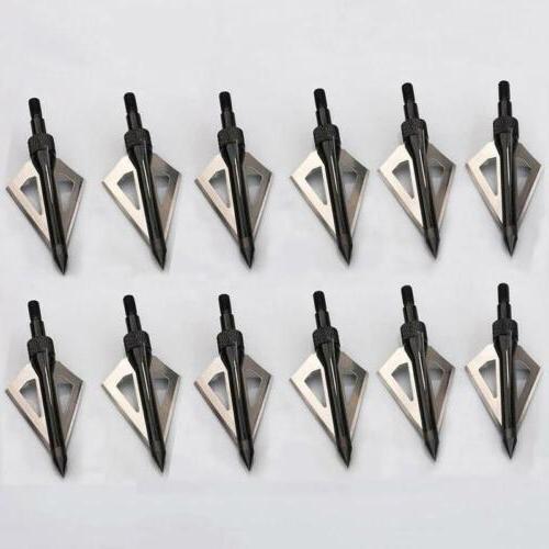 12pcs hunting broadheads 100grain 3 fixed blade