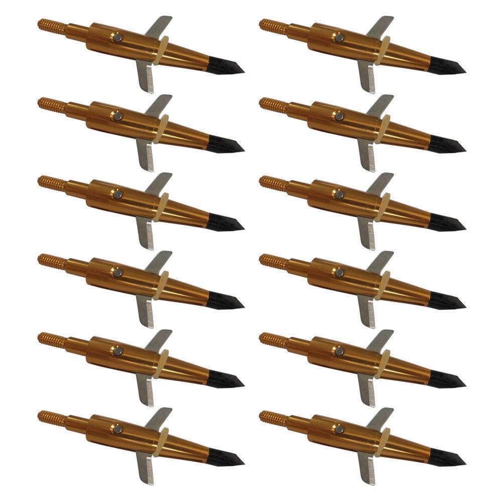 12Pcs Yellow 100Grain Cut Broadhead+1 Black Hunting