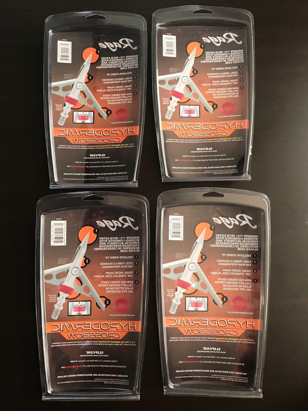 "4 packs Rage Crossbow Hypodermic Grain 2"" Cut Rear Deploy"