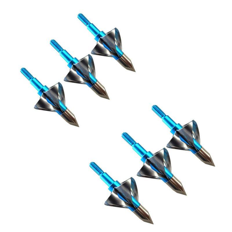 6/12pcs Blue Hunting Arrow Head Tips 100 grain