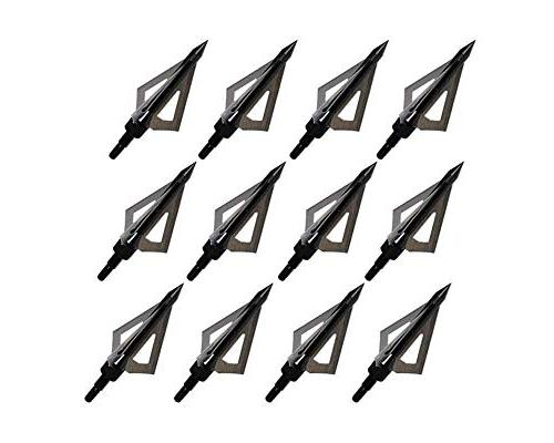 Huntingdoor 12Pcs Fixed Blade 100 Grain Archery Heads for and Compound Bow