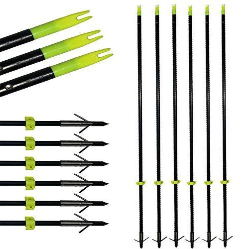 TOPARCHERY 6X Arrows with Hunting Fish Fibergalss