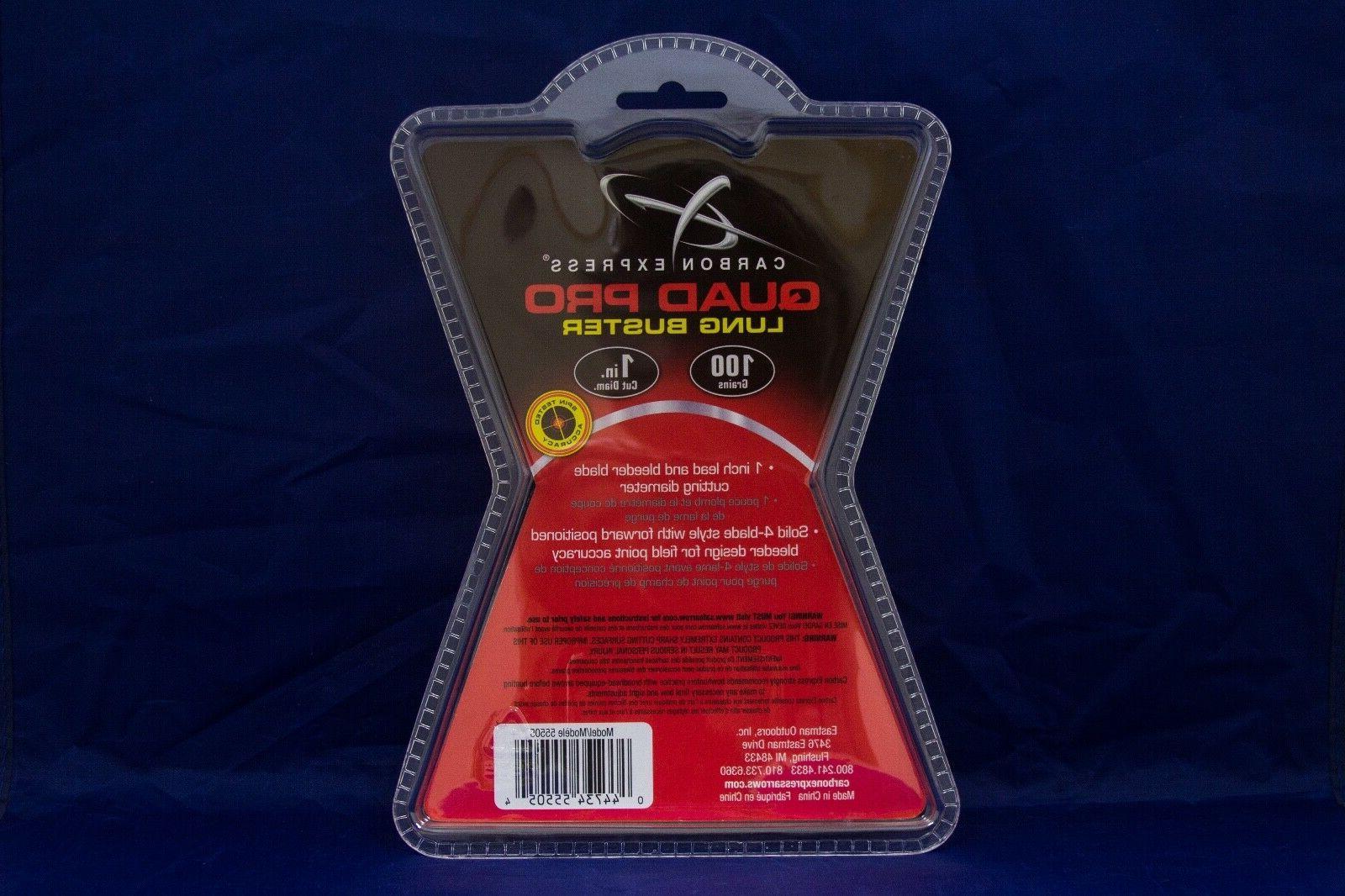 Carbon Express Quad Pro Lung Broadheads Pack Grain Cut