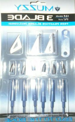 @NEW@ 6pk. Muzzy 3 Blade 125 Grain Fixed Blade Broadheads w/