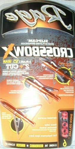 """@NEW@ Rage Crossbow X Broadheads! 2"""" Cut/125 Grain/Expandabl"""