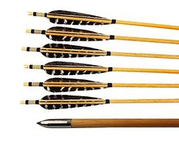 Huntingdoor 12 Pcs Turkey Feather Fletching Wooden Target Ar