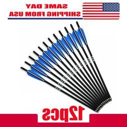 "USA 12PCS 20"" Carbon Arrow crossbow arrows 8.8mm Broadheads"