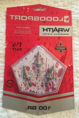 "BLOODSPORT WRAITH BROADHEADS - 100gr. / 1 1/8"" CUT - NEW IN"